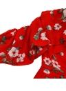 Лето Женщины плеча Цветочный печати Ruffle Элегантный комбинезон Rompers Повседневный Короткие Комбинезоны красный костюм для подвижных игр