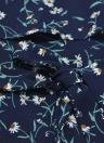 Nuevo atractivo de las mujeres del mono de la impresión floral Rizado sin mangas de la correa de espagueti con cinturón Culotte Mini resbalón vestido azul oscuro / amarillo