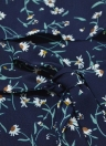 New Sexy Frauen-Overall mit Blumenmuster kräuselte Spaghetti-Bügel-Sleeveless Belted Culotte Mini Beleg-Kleid dunkelblau / Gelb