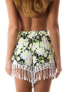 Nouveau Femmes Summer Shorts Floral Imprimer Tassel vrac Shorts taille élastique Casual plage chaude Pantalon blanc