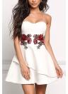 Мода женщин без бретелек Роза вышивка аппликация Нерегулярные Bodycon платье
