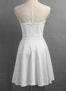 Fashion Women Strapless Rose Broderie Appliqué Irregular Bodycon Dress