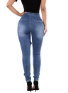 New Women Ripped Jeans Denim Bodycon Destroyed poches effilochée Trou Zipper Pantalons simple pantalon bleu