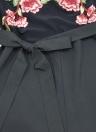 Femmes Sexy Encolure Jumpsuit Floral broderie Mesh Splice taille Strap court Playsuit Romper Noir