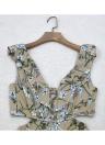 Nuevo atractivo de las mujeres del mono corto de los mamelucos de la impresión floral Recortable cuello en V-Backless sin mangas de la colmena de Mono corto ocasional