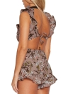 Sexy Floral Print V Neck Ruffle Backless Sleeveless Women's Rompers