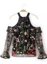 Floral Embroidered Sheer Cold Shoulder Halter Top