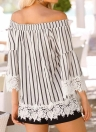 A strisce Donne Sexy Lace della camicetta del manicotto largo della camicia spalla Slash collo femminile casuale Top White