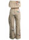 Mulheres Chiffon Two Piece Set Strapless Cortar Tops Calças perna larga Floral impressão ternos de cintura alta Spilit Praia Boho