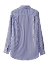 Embroidered Buttoned Stripe Long Sleeve Women's  Blouse