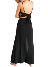 Embroidered Crop Split Sleeveless Self Tie Backless Women's Dress