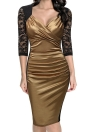 Sheath Lace Gathering Ruched V Neck Zipper Women's Midi Dress