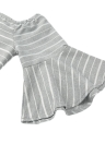 Striped Off Shoulder Cut Out Backless Half Flare Sleeve Women's Mini Dress