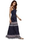 Robe Vintage Femmes plage à rayures imprimé géométrique col en V manches élastiques taille Maxi robe longue Boho bleu foncé