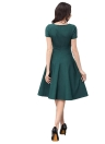 Summer Dress donne Vintage Elegante maniche corte 1950 Rockabilly partito swing Abito Borgogna / verde