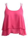Sleeveless Chiffon  Neck Dual Strap  Layer  Casual Top