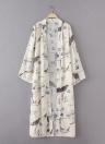 Floral Bird Print Open Front Women's Long Thin Kimono