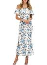 Floral Mermaid Slash-Ausschnitt mit Rüschen Split Frauen-Maxi-Kleid
