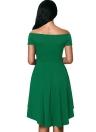 New Fashion Women Off vestido de ombro Corte Neck Irregular hem Festa A-Line Vestido