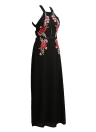 Sexy Women Halter Backless Floral Beach Split Long Elegante vestido maxi