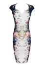Flora Imprimir V-Neck mangas curtas Zipper Vintage Slim Casual vestido