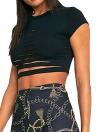 Strappato Hole Crop scava fuori T-shirt brevi donne del manicotto