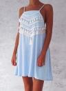 Beach Summer  Tassel Strap Backless Casual Loose A-Line Dress
