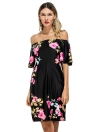 Vintage Floral Off Shoulder Short Sleeve Women's Mini Dress