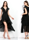 Asymmetrical Chiffon  Plunge V Neck Ruffles Hollow  Lace Up  Dress
