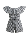 Fashion Off Shoulder Plaid Ruffle Coveralls Romper  Beachwear With Belt