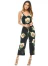 Mode Blumendruck V-Ausschnitt Backless Gürtel Weit Bein Boho Spielanzug