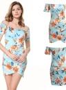 Mulheres Floral Off the Shoulder Slash Neck Ruched Short Sleeves Zipper Dress