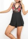 Nuevas mujeres atractivas bordado floral V-cuello Semi-sheer Playsuit Jumpsuit