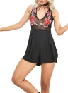 New Sexy Women Floral Embroidery V-neck Semi-sheer Playsuit Jumpsuit
