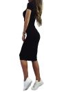 Fashion Women Pencil Round Neck Short Sleeve Knee Length Partywear Dress