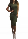 Fashion Women Pencil Round Neck Short Sleeve Knee Length Partywear Dress