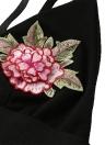 Сексуальная цветочная вышивка Чокер окунуться V бюстгальтер ремень Crop Top