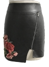 Sexy Women  PU Skirt Floral Embroidery Solid Color Irregular Skirts