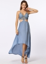 Hollow Out Maxi  Cross Strap Deep V-Neck Beach Summer  Long Dress