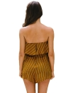 New Women Summer Stripe Print Combinaison de survêtement hors épaule Combinaison Beach Romper Jumpsuit Yellow