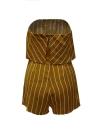 Nuevo traje de la impresión de la raya del verano de las mujeres de los guardapolvos del hombro de la playa del día de fiesta Romper Jumpsuit