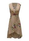 New Women Boho Floral Print V Neck Sleeveless Summer Beach Dress