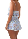 Mulheres Two Piece Set Crop Top Shorts Impressão Floral sem mangas Lace Up cintura alta Ruffle Sexy Beach Suit Azul Claro