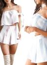 Stripe di estate delle nuove donne fuori dal manicotto dell'arco della spalla due pagliaccetti