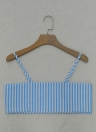 Femmes Striped Cami Cropped Top Tie Front Bow Sans manches Bandage Bralette Casual Crop Tops Bleu
