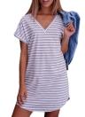 Neues reizvolles Frauen-Minikleid gestreiftes V-Ansatz Kurzschluss-Hülsen-beiläufiges Kleid-Weiß / Grau
