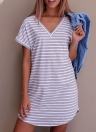 New Sexy Women Striped V-Neck Short Sleeves Casual Mini Dress