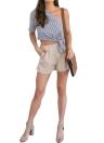 Women Stripe One Shoulder Asymmetric Tie Short Sleeve Casual Blouse