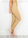 Mulheres Novas Calças Casual Lápis Calças Bolsos De Cintura Elevada OL Trabalho Sólido Desgaste Leggings Com Cinto Khaki