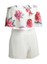 Mulheres Novas Duas Peças Set Floral Imprimir Crop Top Shorts Sem Mangas Zipper Casual Top Calças Branco